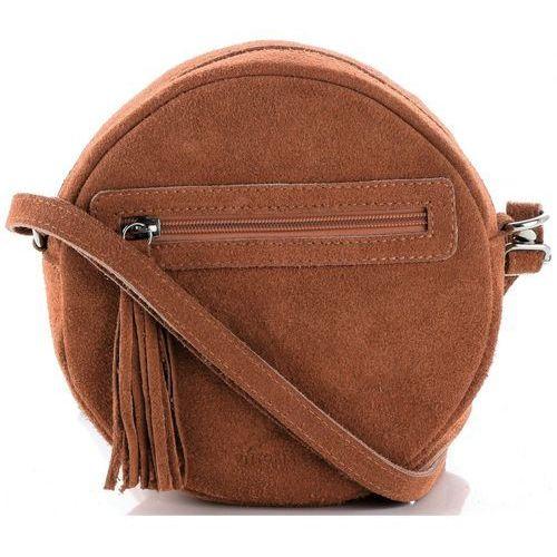 Vittoria gotti Oryginalne okrągłe torebki skórzane z zamszu naturalnego rude (kolory)