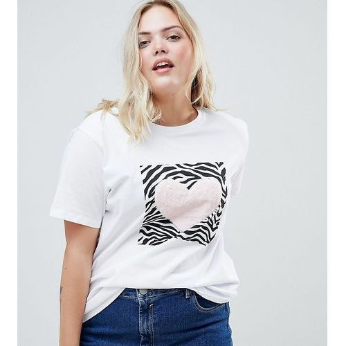 ASOS DESIGN Curve t-shirt with zebra print and fluffy heart in white - White, 1 rozmiar