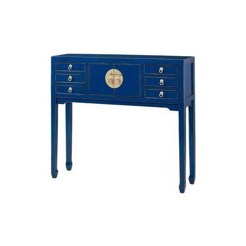 Vente-unique Konsola mitsuko – 2 pary drzwiczek i 6 szuflad – drewno wiązu – kolor granatowy