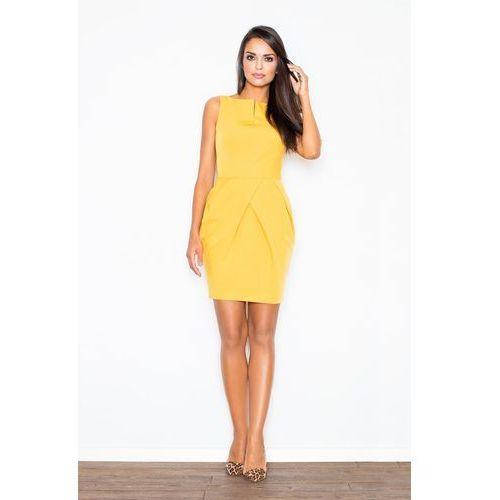 Elegancka żółta sukienka bez rękawów z drapowaniem, Figl, 36-42