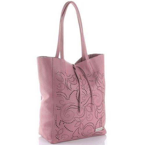 Vittoria Gotti Włoskie Torebki Skórzane typu ShoppeBag XL z Kosmetyczką w modne wycinane wzory Brudny Róż (kolory), kolor różowy