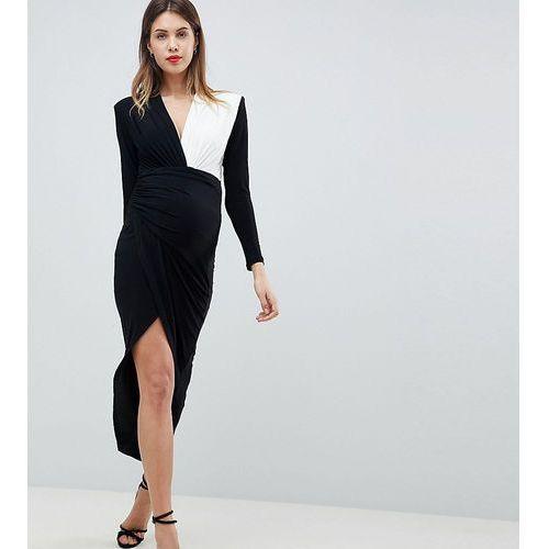 Queen Bee Plunge Front Wrap Maxi Dress - Black