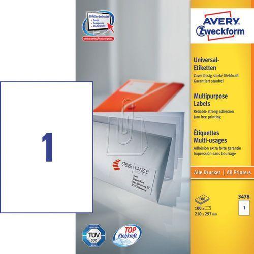 Etykiety uniwersalne trwałe a4 210 x 297mm 100 arkuszy  3478 marki Avery zweckform