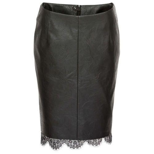 Spódnica ze sztucznej skóry z koronką czarny marki Bonprix