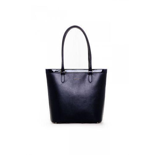 Elegancka torebka w odcieniu atramentowego granatu - marki Franco bellucci