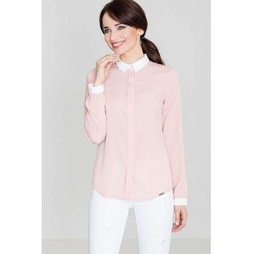Różowa klasyczna elegancka koszula z kontrastowym kołnierzykiem i mankietami, Katrus, 36-42