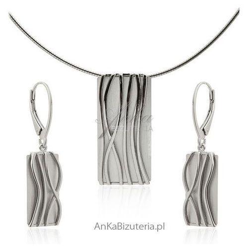 Elegancki komplet biżuterii srebrnej satynowany i rodowany idealna biżuteria na prezent! marki Anka biżuteria