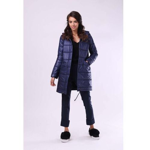 Granatowa pikowana kurtka z kapturem