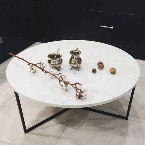 STOLIK KAWOWY MARMUROWY OVAL 70 cm złoty biały Carrara