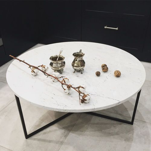 The brooklyn loft Stolik kawowy marmurowy oval 80 cm czarny biały carrara