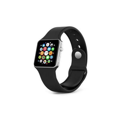 CZARNY Sportowy silikonowy pasek do Apple Watch 38mm - Czarny, kolor czarny
