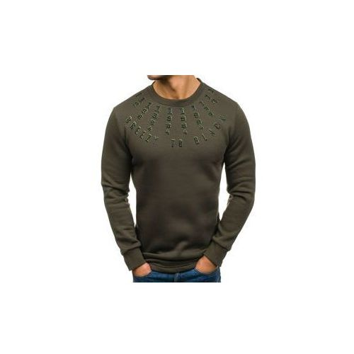 Długa bluza męska bez kaptura z nadrukiem zielona Denley 171589, kolor zielony