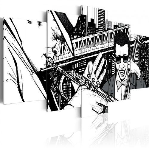Artgeist Obraz - koncert jazzowy na tle nowojorskich wieżowców - 5 częsci