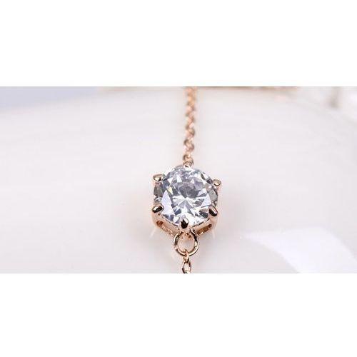 OUTLET Pozłacana 18k różowym złotem bransoletka z pięknym kryształem