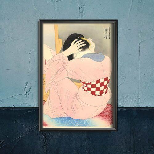 Plakat retro do salonu plakat retro do salonu kobieta w niebieskim czesaniu włosów marki Vintageposteria.pl