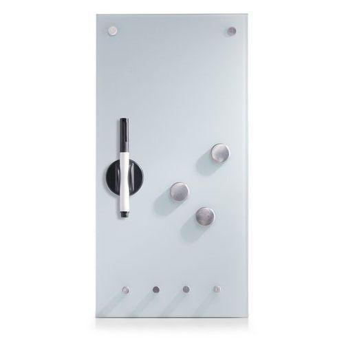 Szklana tablica MEMO na notatki, biała + 3 magnesy i 4 haczyki, 40x20 cm, ZELLER, B002Z64OD6