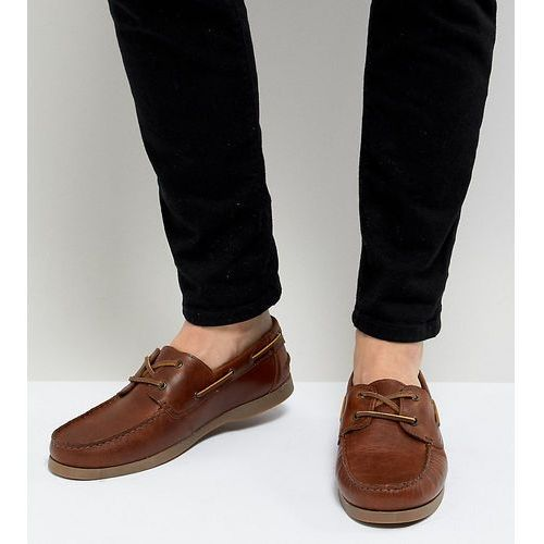 design wide fit boat shoes in tan leather - tan marki Asos