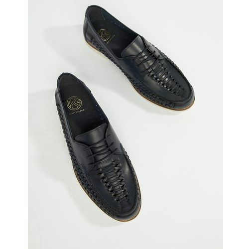 KG By Kurt Geiger Woven Lace Up Shoes In Navy Leather - Blue