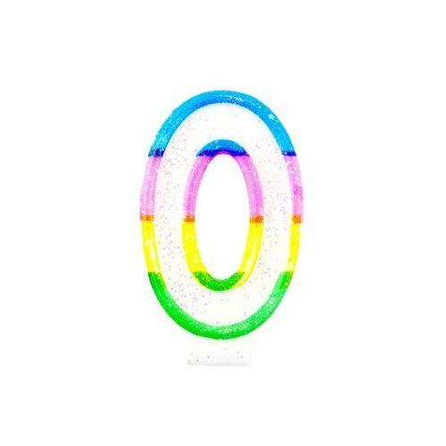 Tg Świeczka cyferka z brokatem - 0 - 7 cm