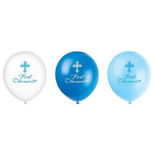 Balony na I Komunia Święta - niebieskie - 30 cm - 8 szt.