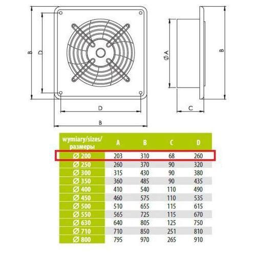 Airroxy Ścienny wentylator wyciągowy przemysłowy średnice od 200 do 630 mm bardzo wydajny arok średnice: 200