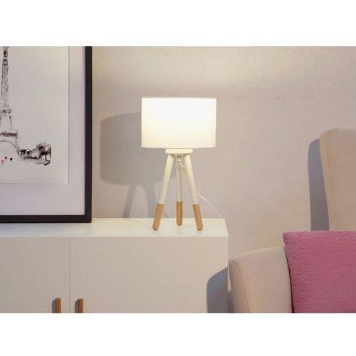 Beliani Lampa stołowa nocna drewno trójnóg biała tobol (7105276361541)