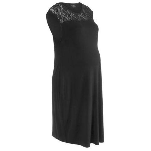 Sukienka ciążowa shirtowa z koronką czarny marki Bonprix