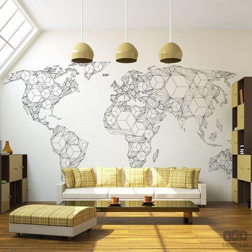 Murando Fototapeta map of the world - white solids 10040910-65