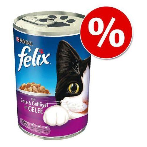 24 x 400 g Felix w puszkach w super cenie! - Kąski w galarecie, kaczka z drobiem