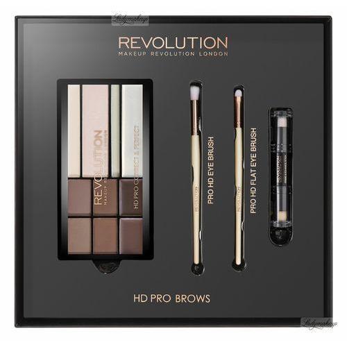 MAKEUP REVOLUTION - HD PRO BROWS - FLAT BROW BRUSH, ANGLED BROW BRUSH - Paleta do makijażu brwi i zestaw 2 pędzli (5029066093035)