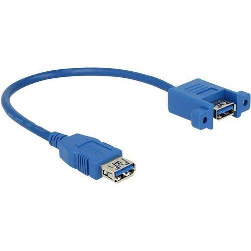 Przedłużacz USB 3.0 Delock 85111, [1x złącze żeńskie USB 3.0 A - 1x złącze żeńskie USB 3.0 A], 0.25 m, niebieski, 85111