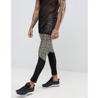 ASOS DESIGN festival meggings with leopard print and mesh panel - Gold, w 6 rozmiarach