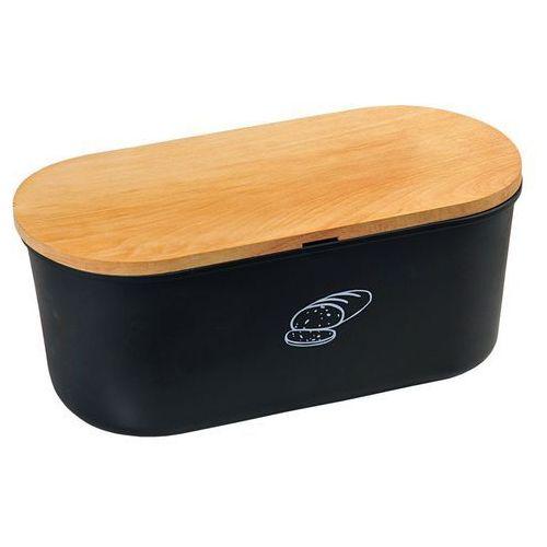 Czarny chlebak z deską do krojenia z drewna bukowego, designerski pojemnik na pieczywo z melaminy (4000270850912)