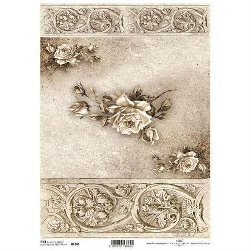 Papier ryżowy ozdobny 297x210 mm - róża vintage marki Itdcollection