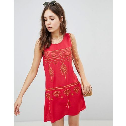 sleeveless mini shift dress with contrast embroidery - red, Glamorous