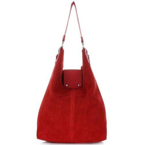 Duża Torba Skórzana Shopper XXL Vittoria Gotti Made in Italy zamsz naturalny wysokiej jakości Czerwona (kolory)