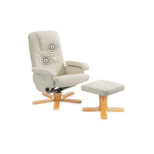 Fotel relaksacyjny z masażem kolor beżowy skóra sztuczna RelaxPro