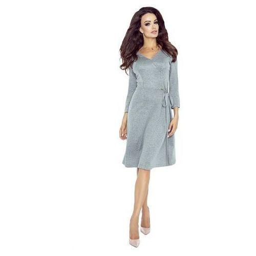Szara Sukienka Midi z Kopertowym Wiązaniem na Boku, w 2 rozmiarach