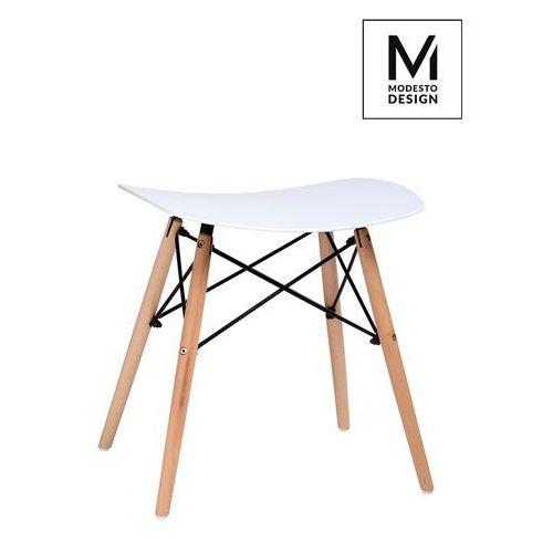 Modesto design Modesto stołek bord biały - polipropylen, podstawa bukowa (5900168801844)