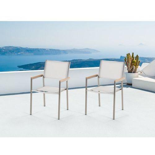 Zestaw do ogrodu 2 krzesła białe stal szlachetna GROSSETO (4251682205535)