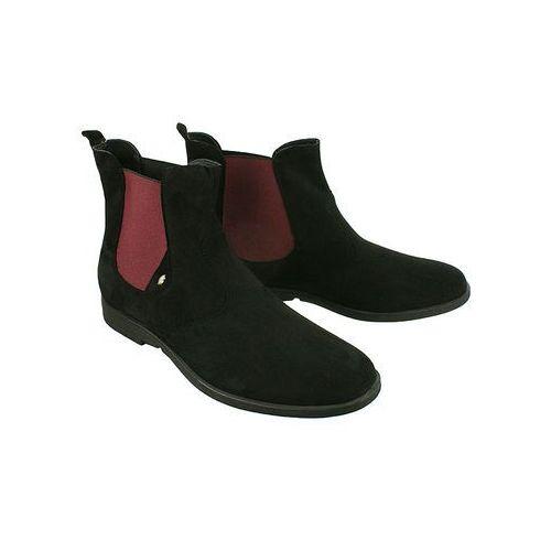 MAN FASHION 2710 czarny, botki sztyblety męskie - Czarny, kolor czarny