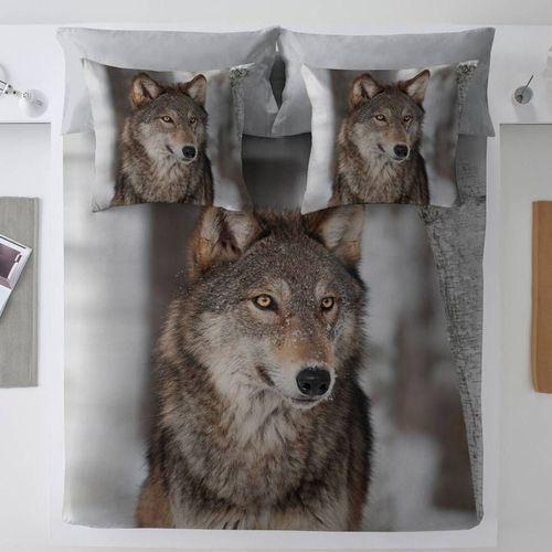 komplet pościeli grey wolf, poszwa 220 × 200 cm, 2 poszewki 70 × 80 cm marki Dekoria