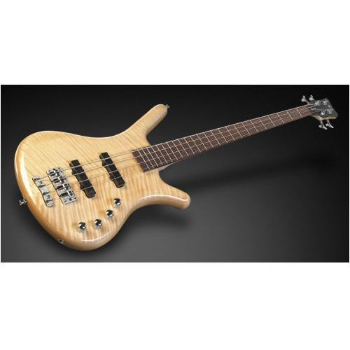 RockBass Corvette Premium 4-String, Natural Transparent High Polish, Active, Fretted gitara basowa