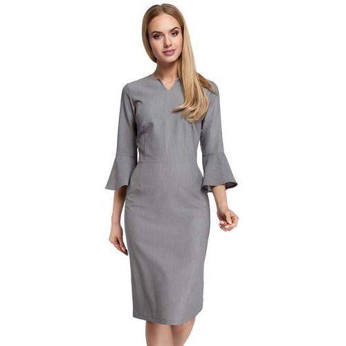 Szara Sukienka Ołówkowa Midi z Hiszpańskim Rękawkiem, ołówkowa