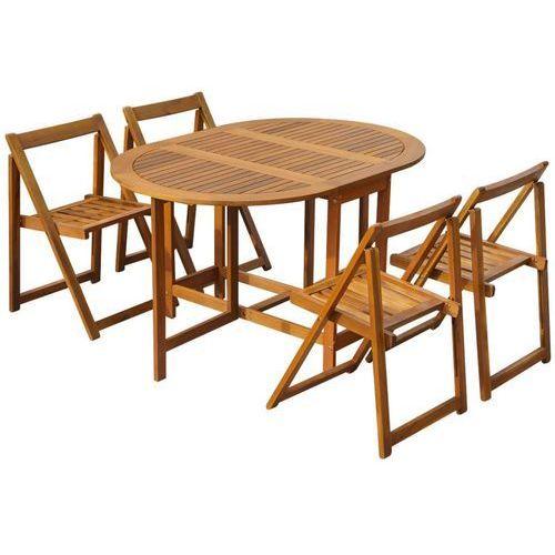 vidaXL Zestaw składanych mebli ogrodowych, 5 części, drewno akacjowe (8718475502661)