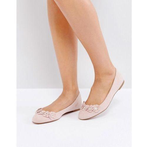 London rebel flower trim slipper shoes - beige