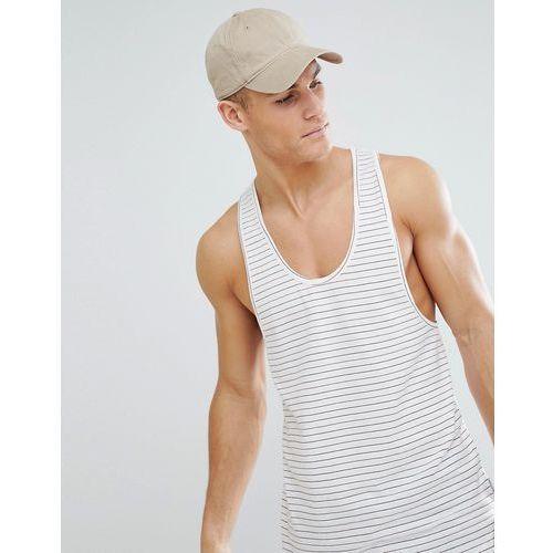 Bellfield longline vest in stripe with curved hem - cream