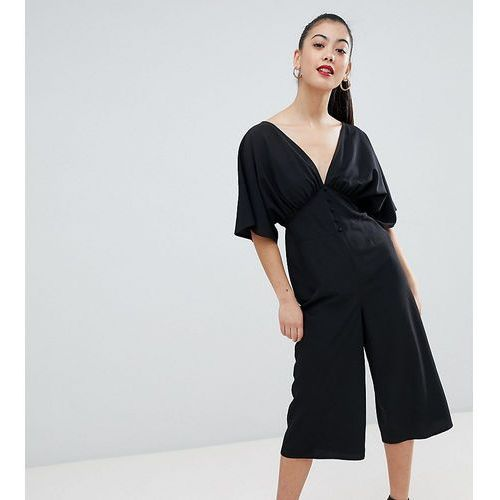 1ea05c316930af Kombinezony damskie · ASOS DESIGN Petite Tea Jumpsuit With Kimono Sleeve  And Button Detail - Black, kolor czarny