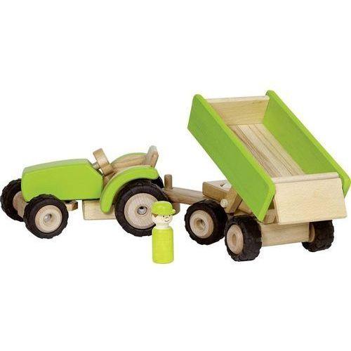 zielony traktor z przyczepą marki Goki