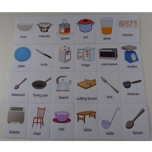 Kuchnia / akcesoria karty edukacyjne wersja w języku angielskim marki Bystra sowa